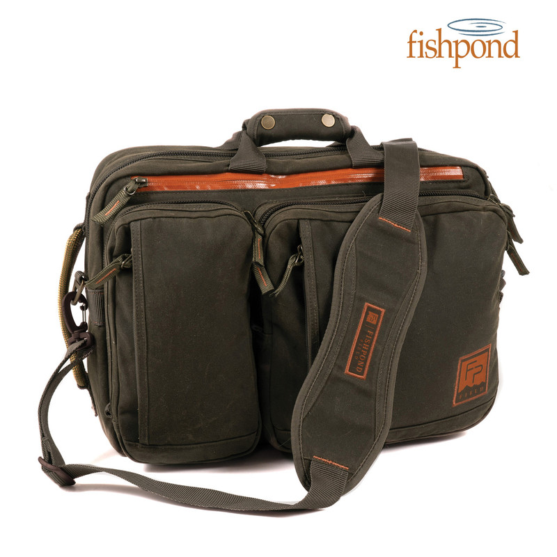 Fishpond Boulder Briefcase front view with padded shoulder strap shown.