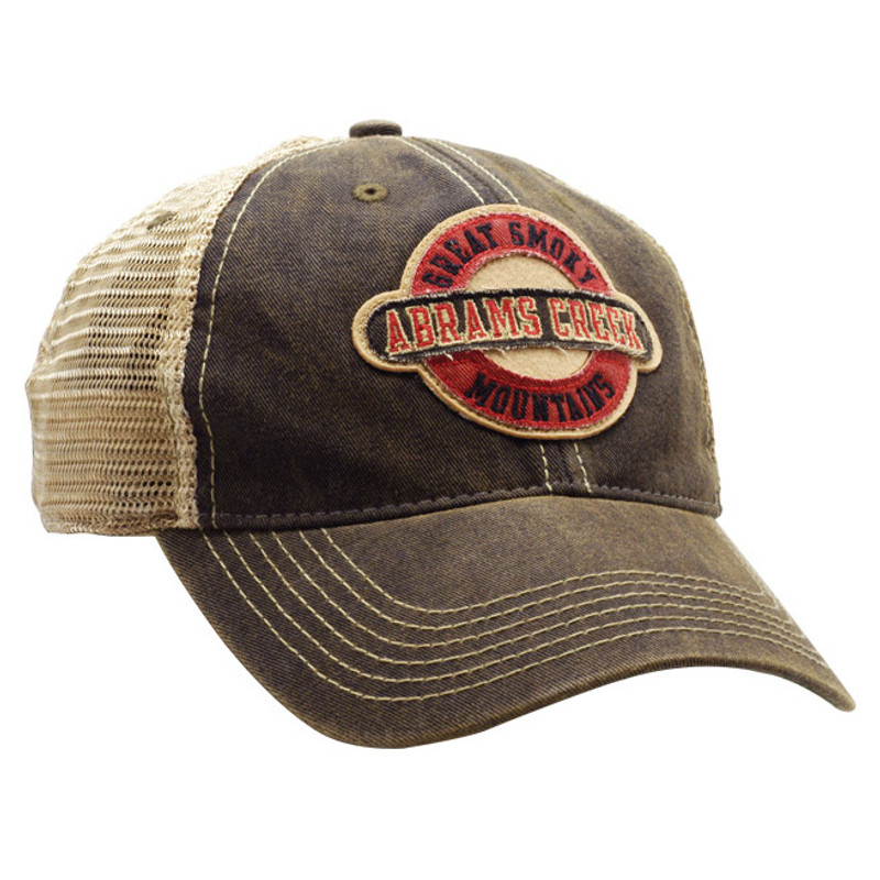 Abrams Creek Black Trucker Cap Front and Side View