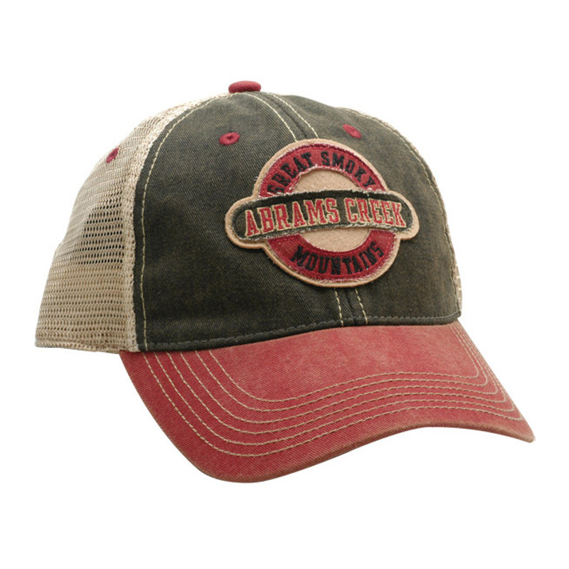 Abrams Creek Red-Black Trucker Cap Front and Side View