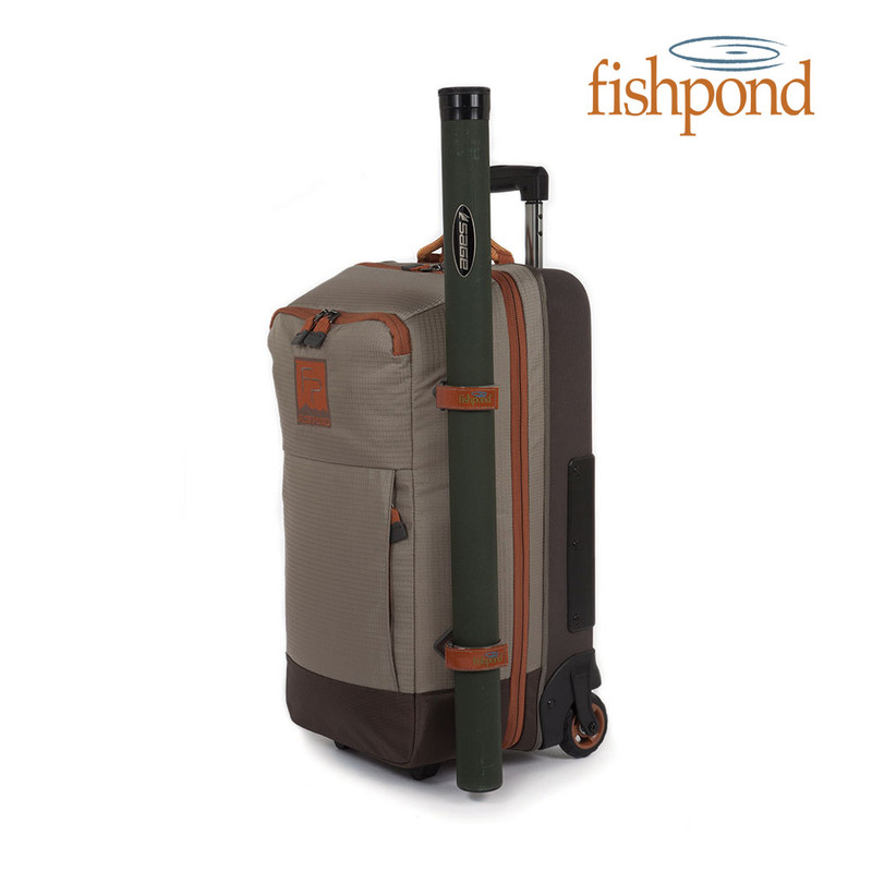 Fishpond Teton Rolling Carry-On Shown With Rod Tube Attatched