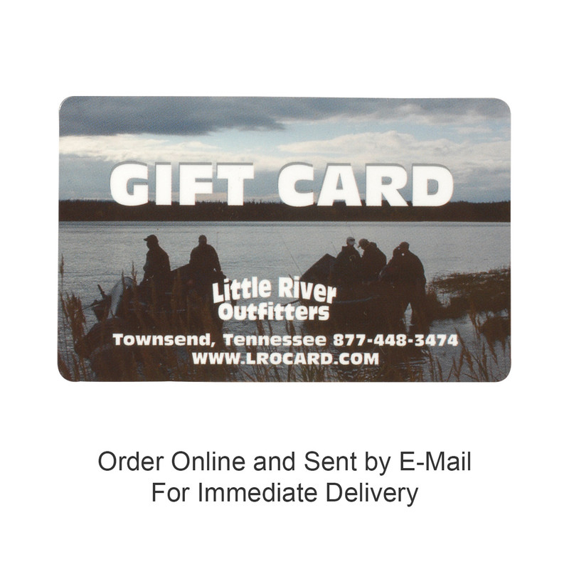 "Little River Outfitters Gift Card and the words, ""Buy online and sent by e-mail""."