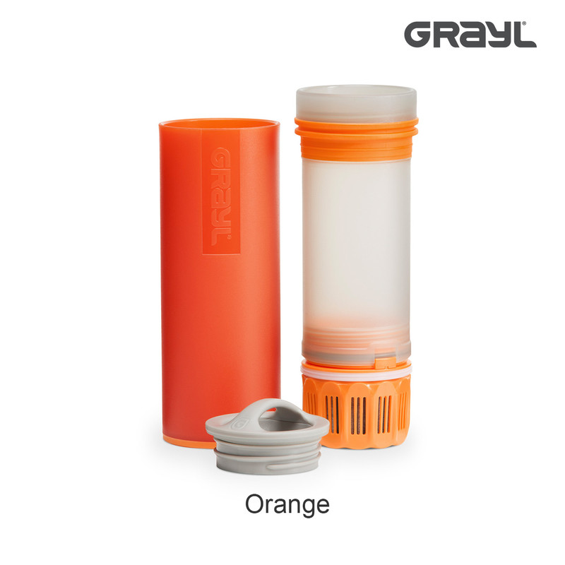 Grayl Ultralight Water Purifier in the Color Orange