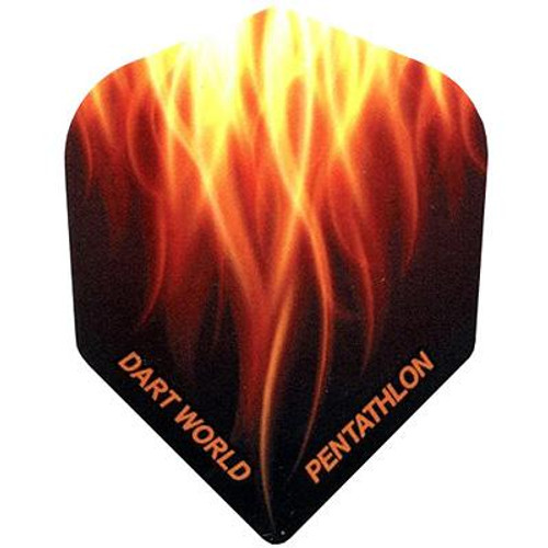 PENTATHLON SHAPE DART FLIGHTS - BLACK WITH UPSIDE DOWN FLAMES