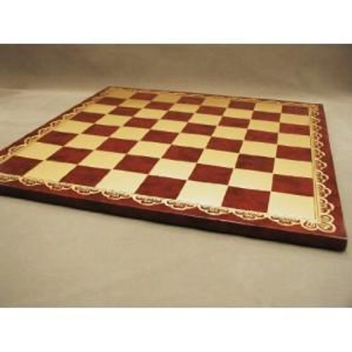 Gold and Burgundy Pressed Leather Chess Board