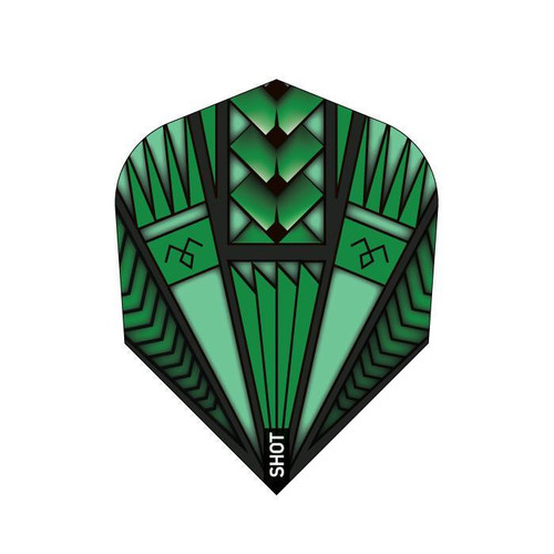 Shot Darts Armour Green Flights - Small Standard