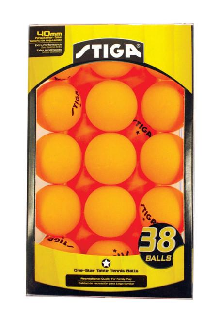 STIGA 1 STAR ORANGE BALLS 38-PACK