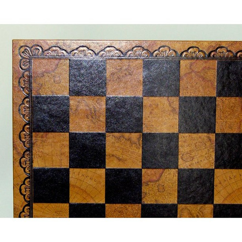 """18"""" Pressed Leather Map Chess Board"""