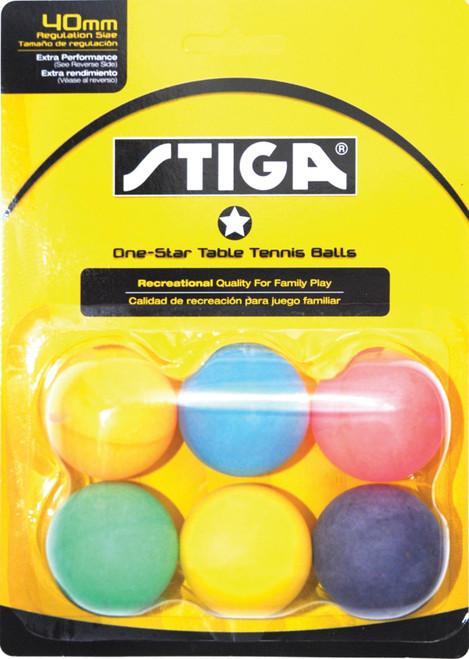 STIGA 1-Star Multi-Color Balls (6-pack)