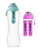 Dafi Filtering Water Bottle Mint 17 fl oz + 2 Pink Filters + New Pink Bottle Cap