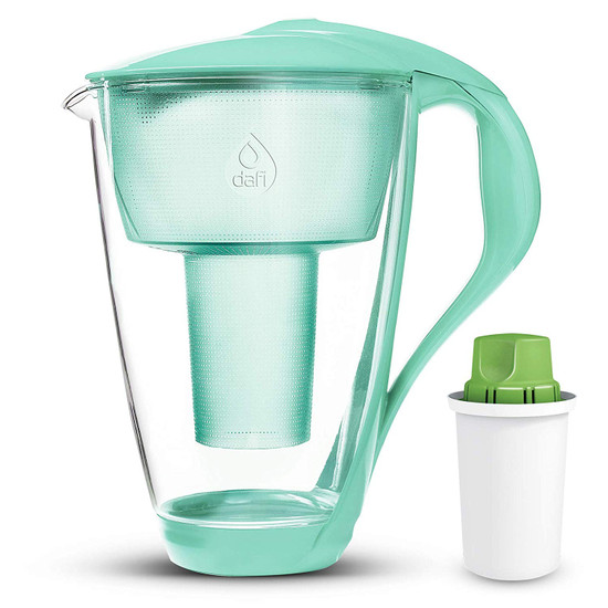 Dafi Alkaline UP Crystal Glass Water Pitcher 8 cups (Crystal Alkaline Water Pitcher with 1 Alkaline UP pH Water Filter)