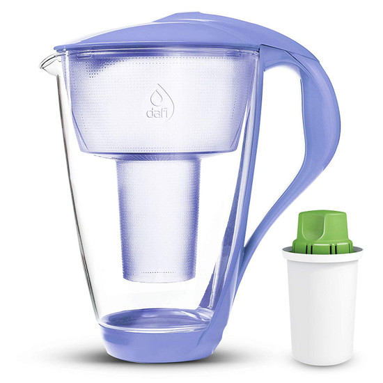 Dafi Crystal Glass Filtering Water Pitcher 8 Cups LED plus Alkaline Filter