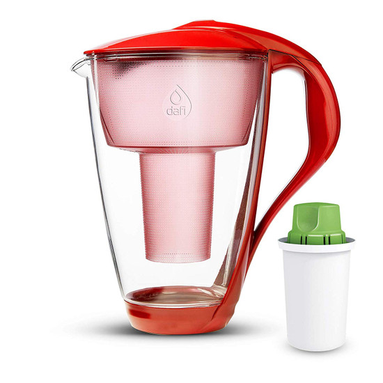 Dafi Crystal Glass Filtering Water Pitcher 8 Cups LED + Alkaline Filter Made In Europe BPA-Free