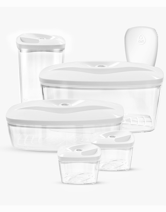 Dafi Set of 5 Vacuum Containers with Electric Pump White Made In Europe BPA-Free
