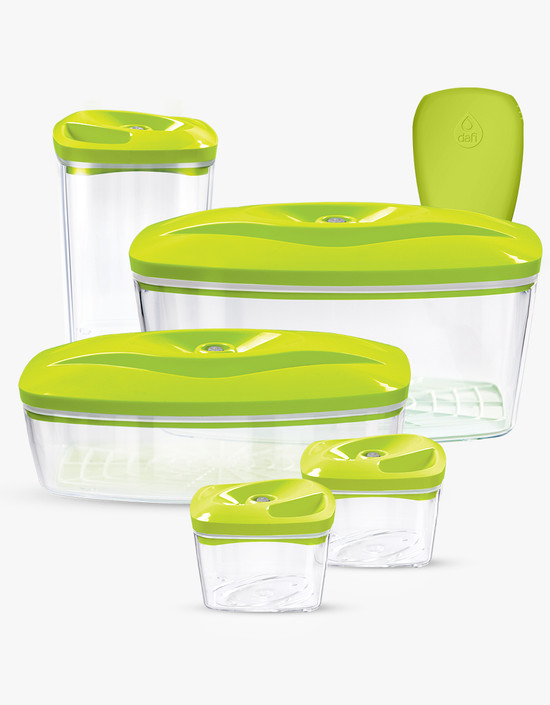 Dafi Set of 5 Vacuum Containers with Electric Pump Lime Made In Europe BPA-Free