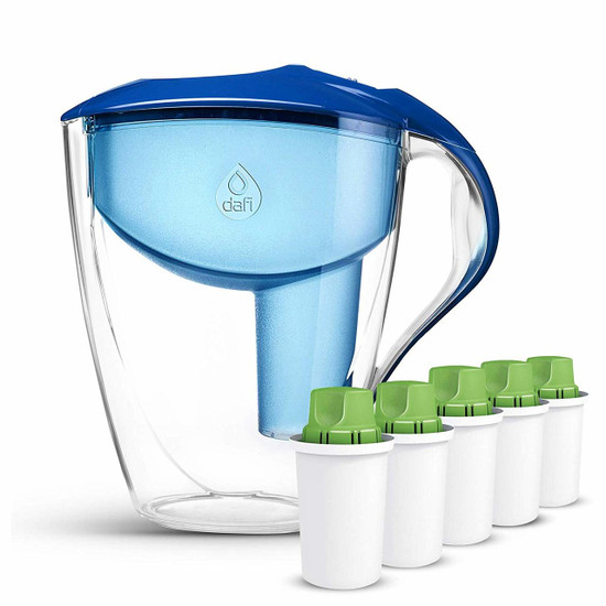 Dafi Astra LED Filtering Water Pitcher 12 Cup + Alkaline UP Water Filters 5-Pack BPA Free