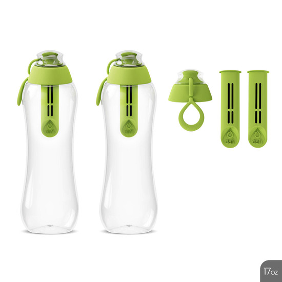 2 x Dafi 17 fl oz. Water Bottle with Carbon Filter + 2 Replacement Bottle Filters