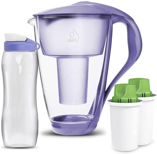 Dafi Crystal Glass Filtering Water Pitcher 8 Cups +  2 Alkaline Up Filters + Bidon Made In Europe BPA-Free