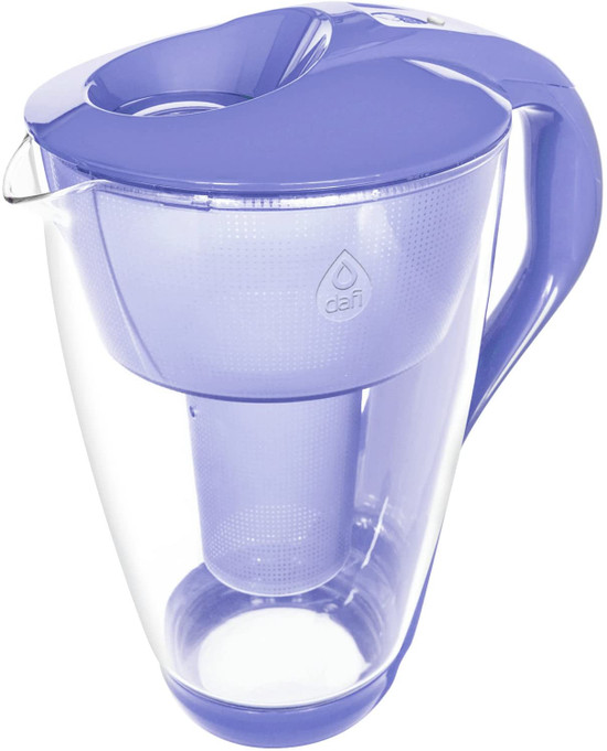 Dafi Alkaline UP Crystal Glass Filtering Water Pitcher 8 Cups Violet + 2 Alkaline Up Filters + Bidon BPA-Free