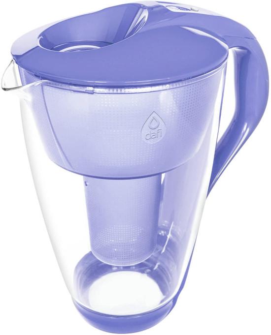 Dafi Alkaline UP Crystal Glass Filtering Water Pitcher 8 Cups Violet + 2 Alkaline Up Filters + Bidon BPA-Free