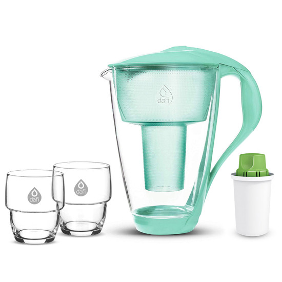 Dafi Crystal Glass Filtering Water Pitcher 8 Cups + 1 Alkaline Up Filter + 2 Drinking Glasses Made In Europe BPA-Free