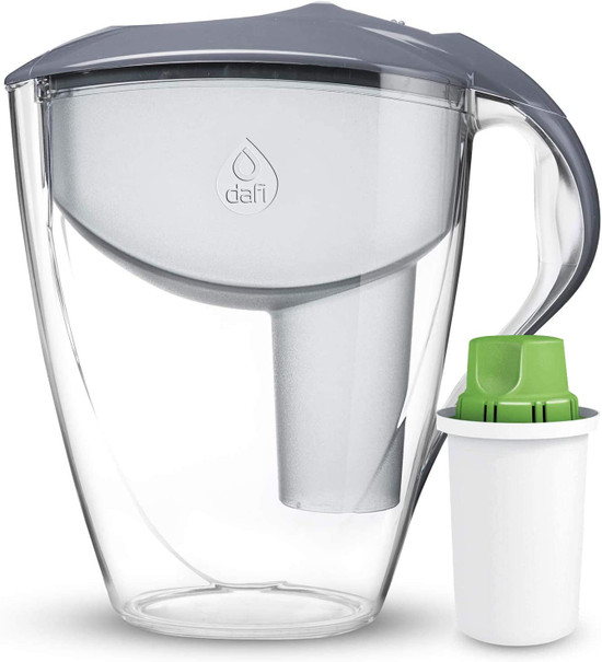 Dafi Astra Standard Filtering Water Pitcher Gray 12 Cups + Alkaline Filter BPA Free