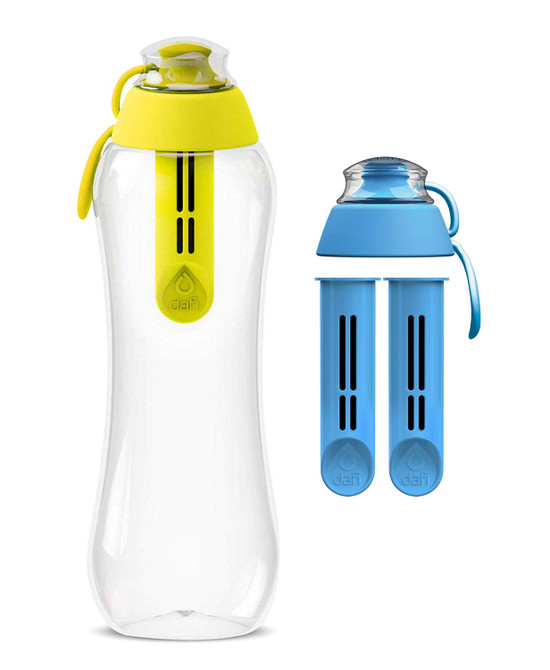Dafi Filtering Water Bottle Yellow 17 fl oz + 2 Blue Filters + New Blue Bottle Cap