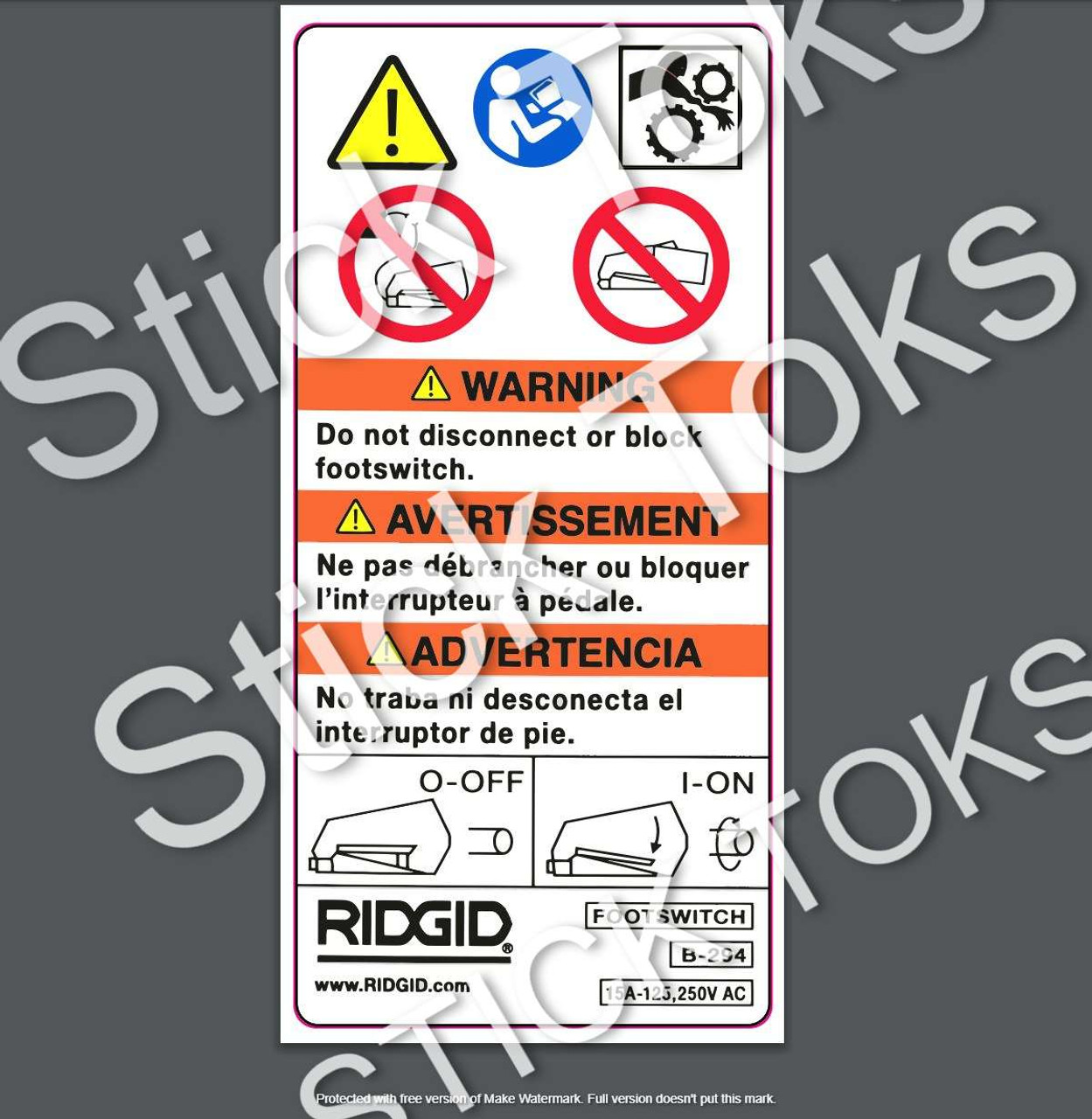 Ridgid 300 535 1224 1822 Foot Pedal safety and instruction decal