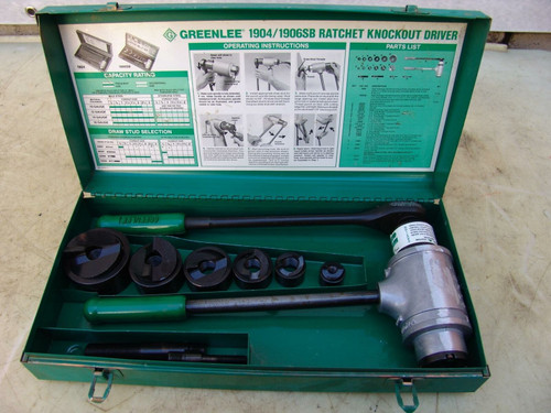 GREENLEE 1904 1906 RATCHET KNOCKOUT PUNCH DIE WORKS FINE  #5