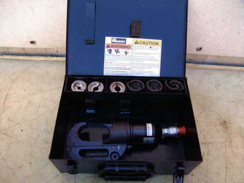 Burndy Y750BH hydraulic cable wire crimper w/ burndy dies & case Y-750BH #2