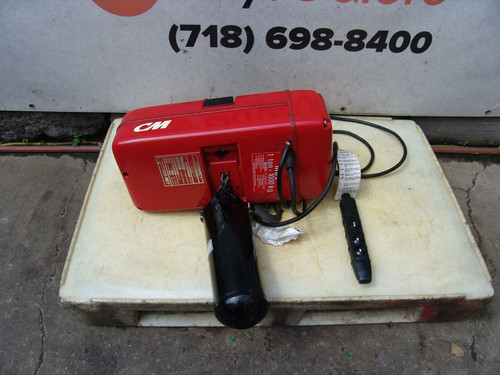 CM Techstar Model L 1 Ton Electric Chain Hoist 20 feet Lift 460V New Condition
