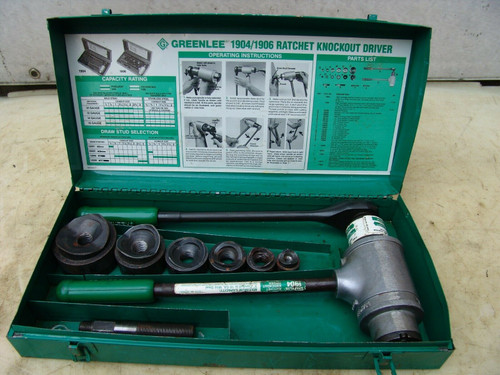 """Greenlee 1906 High Leverage Ratchet Punch Driver Kit 1/2 to 2"""" Conduit"""