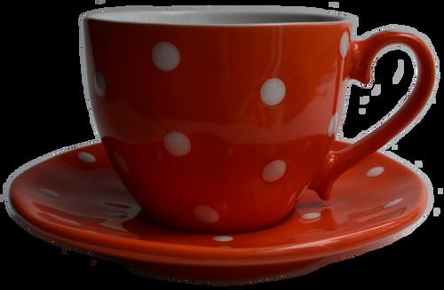 Orange Polka Dot Teacup & Saucer Candle