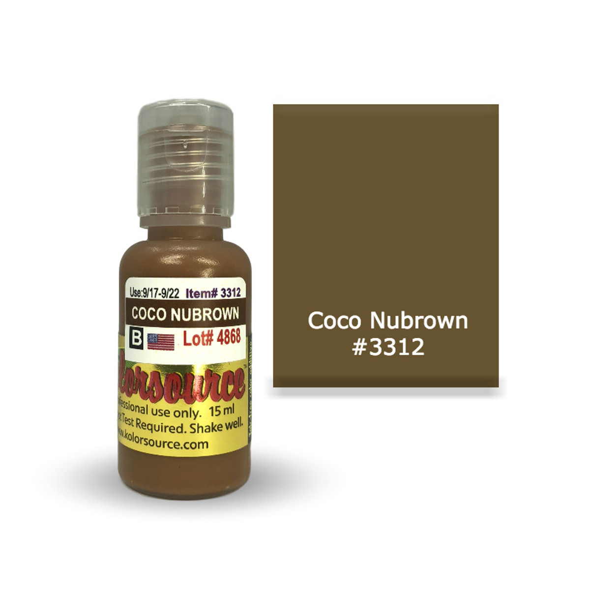 Kolorsource Permanent Makeup Pigment (PMU) Coco Nubrown #3312 - 15ml
