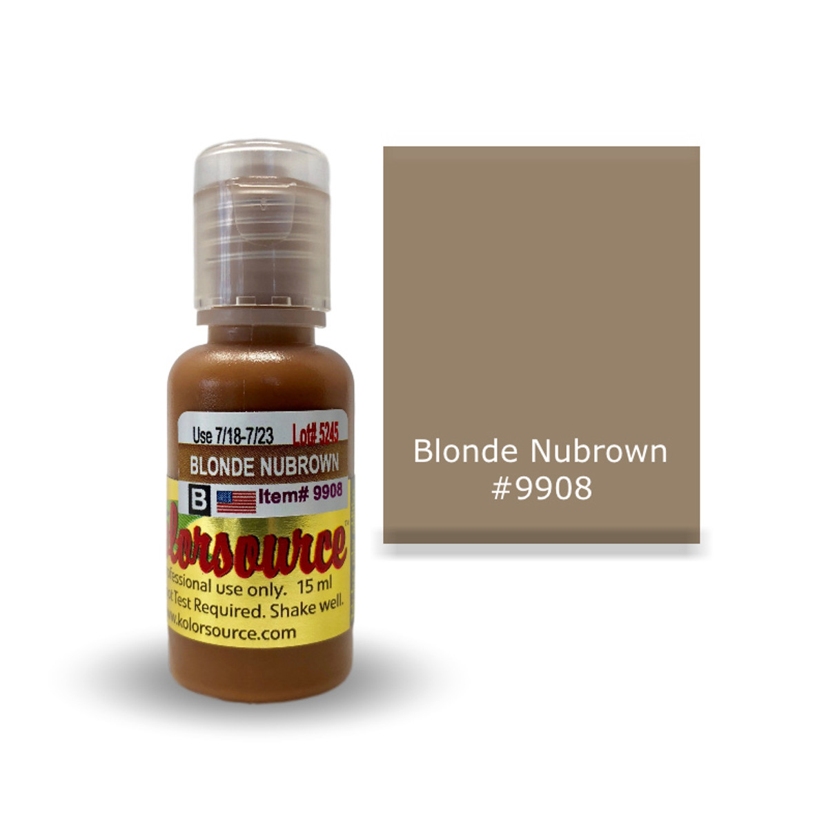 Kolorsource Permanent Makeup Pigment (PMU) Blonde Nubrown #9908 - 15ml