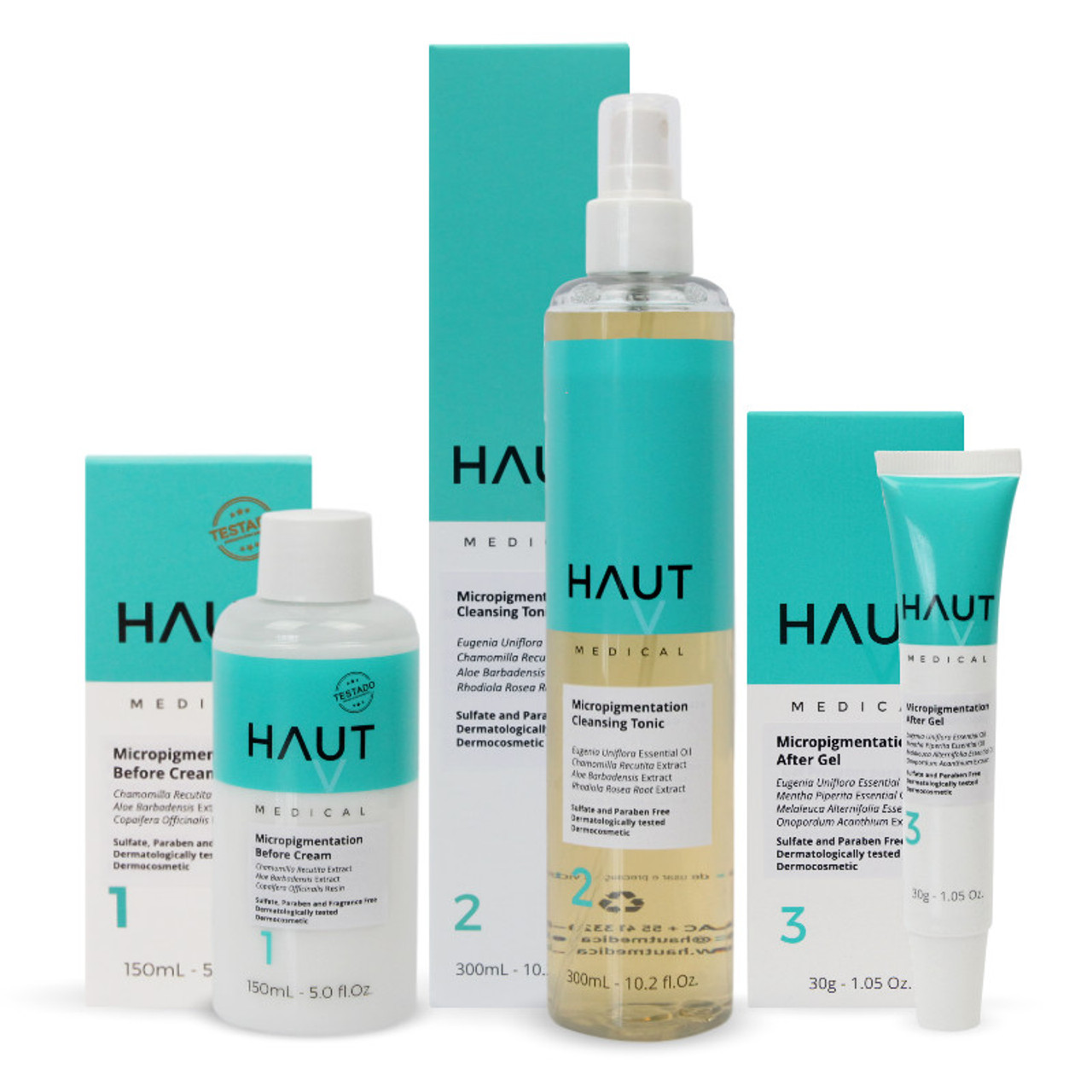 Haut Medical Professional Combo Step 1, 2 & 3 - Permanent Makeup (PMU) and Body Tattooing - PACK WITH 3 UNITS