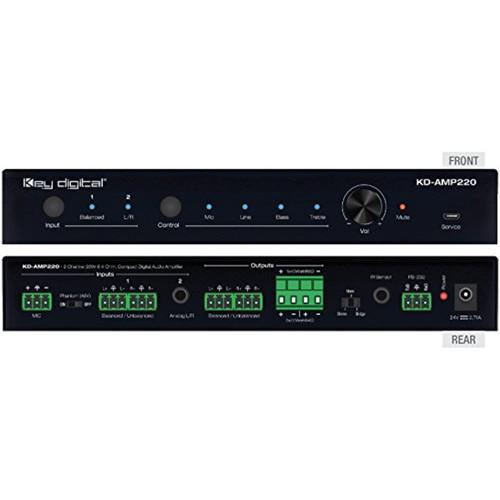 Key Digital KD-AMP220 2 Ch 20 WPC @ 8 Ohm, 40 WPC @ 4 Ohm, Compact Digital Amplifier
