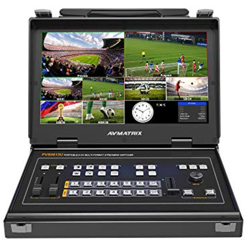 AVMATRIX PVS0613U 13.3 Inch IPS FHD Screen Portable 6 Channel 4×SDI and 2×HDMI Inputs Multi-Format Streaming Switcher with Audio Mixer