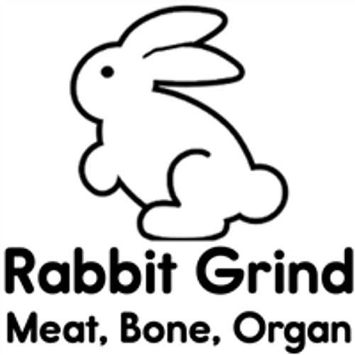 Picture of a Rabbit that says Rabbit Grind, meat, Bone and organ on it.