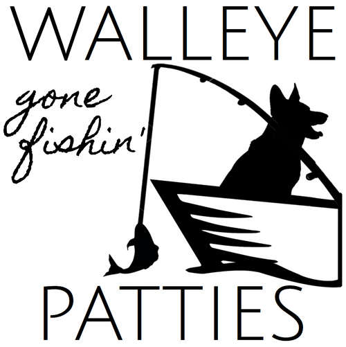 Picture of a dog silhouette gone fishing that says Walleye Patties on it