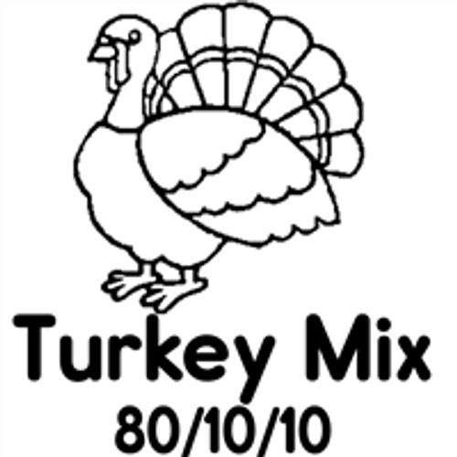 Picture of a Turkey that says Turkey Mix 80/10/10 on it