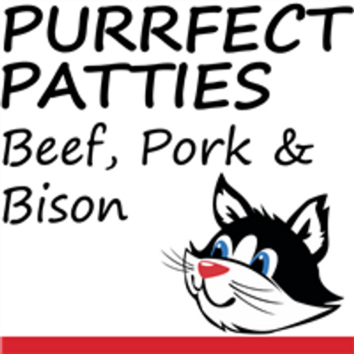 Picture of a cat that says Purrfect patties Beef, Pork and Bison on it.