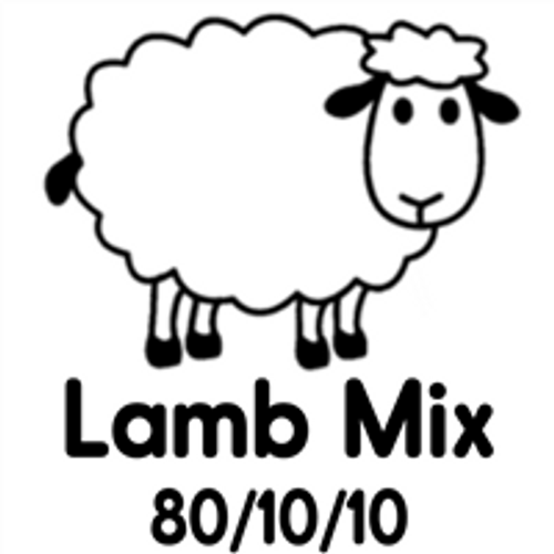 Picture of a lamb that says lamb Mix 80/10/10 on it.