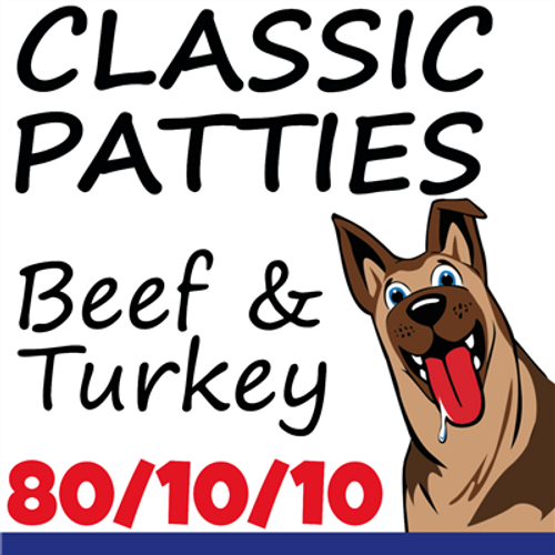 Picture of a dog that says Classic Patties, Beef and Turkey. New 80/10/10 product