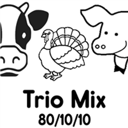 Picture of Cattle, Turkey and Pig that says Trio Mix 80/10/10 on it.