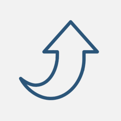 Image of a sweeping arrow upward directing people to back up to the main navigation
