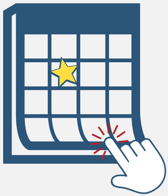 Image of a hand clicking a calendar, this image links to a page with a full pickup calendar.