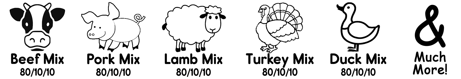 image showing a sample of product labels including Beef Mix, Pork Mix, Lamb Mix, Turkey Mix, Duck Mix and much more