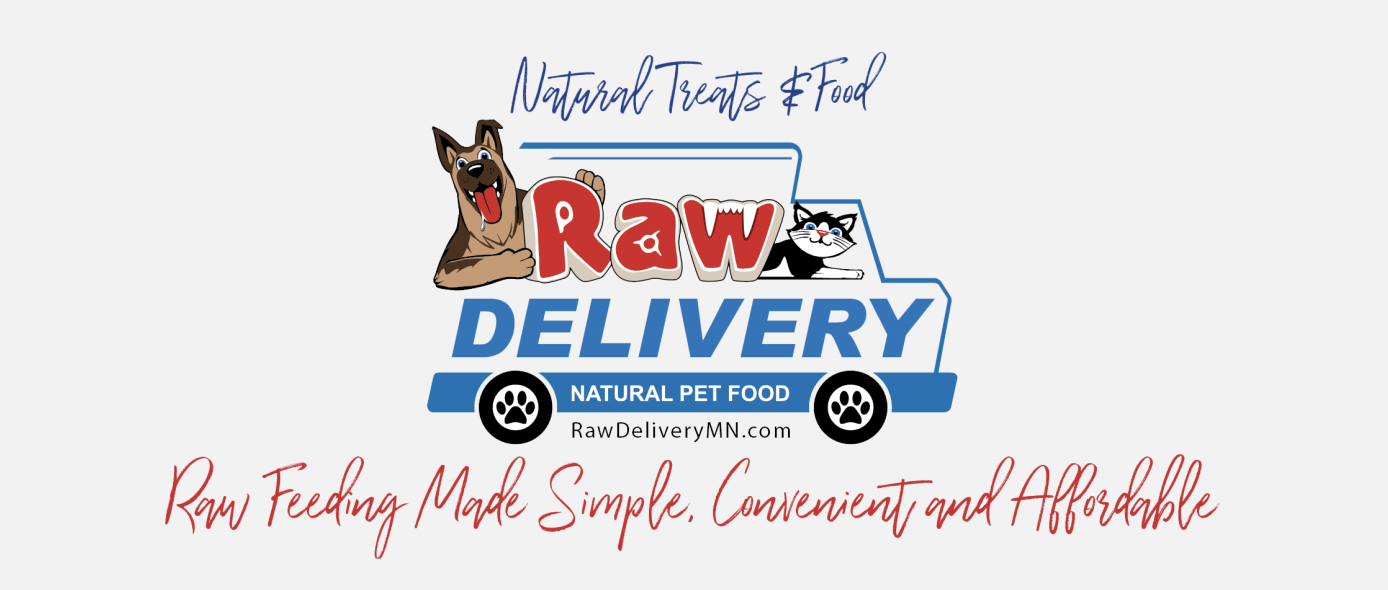image of Raw Delivery logo featuring  the mascot dog and cat in a delivery van. Natural Treats and Food. Raw Feeding made simple, convenient and affordable.