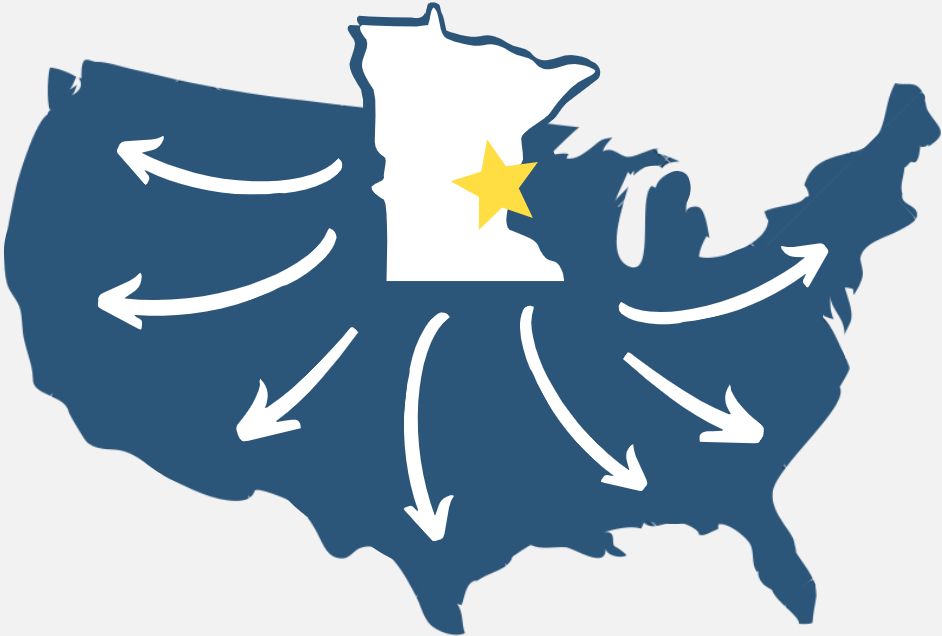 Map of United States with arrows showing that we ship nationwide and the state of MN popped out showing our location and that of our pickup locations