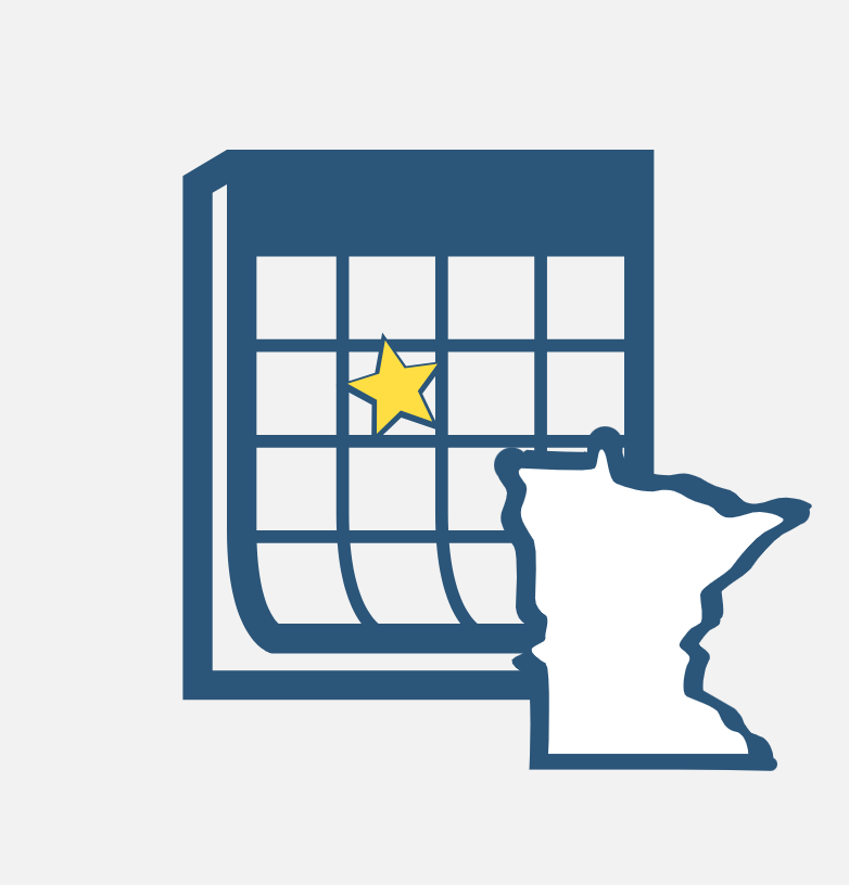 Calendar image with the state on Minnesota overlayed